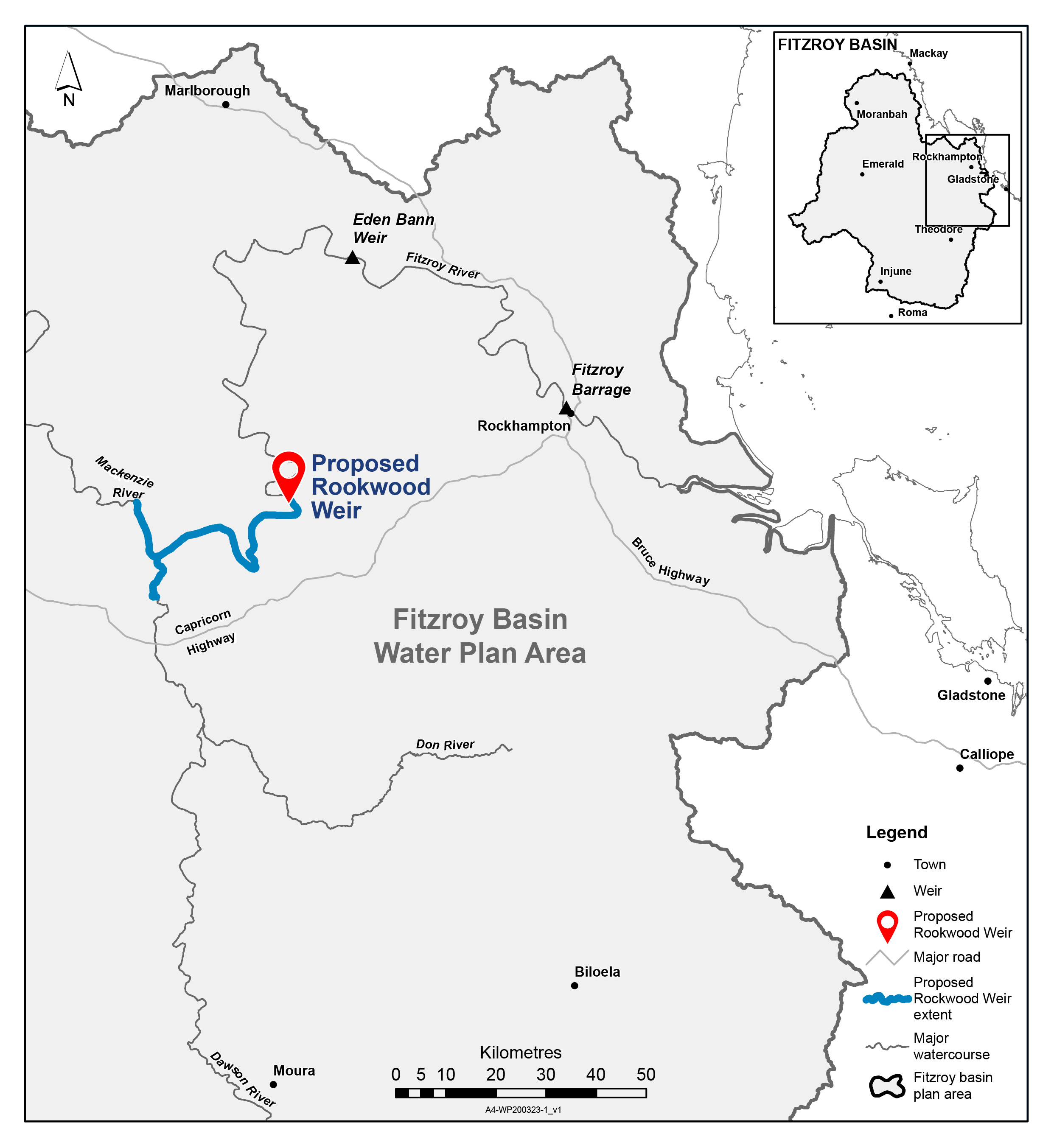 Map showing the proposed location of the Rookwood Weir in the context of the Fitzroy Basin area. Rookwood Weir will be constructed on the Fitzroy River, Central Queensland, approximately 66km south-west of Rockhampton.
