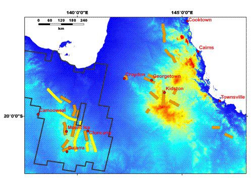 Location of airborne HyMap data coverage throughout Queensland, as well as the ASTER image coverage over Mount Isa