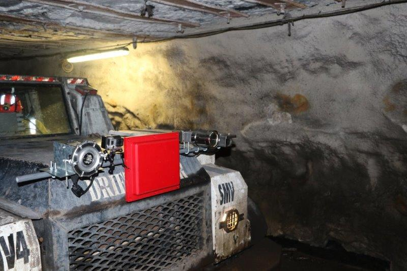 Drift runner mine vehicle set up with the navigational aid equipment during underground trial